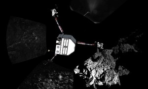source : static.guim.co.uk Philae's CIVA instrument captured this image of its landing site. Photograph: European Space Agency/AFP/Getty Images