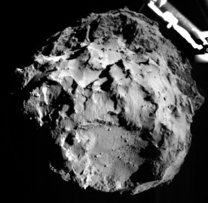 source : http://static.guim.co.uk A picture acquired by the ROLIS (ROsetta Lander Imaging System) instrument on the Philae lander, showing the comet 67P/Churyumov-Gerasimenko during Philae's descent from a distance of approximately 3 km from the surface. Photograph: European Space Agency//AFP/Getty Images