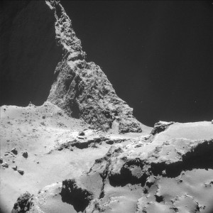 source : www.independent.co.uk Picture taken on October 28 by the navigation camera on Rosetta shows the boulder-strewn neck region of comet 67/P Churyumov-Gerasimenko. It was captured from a distance of 9.7 km from the center of the comet