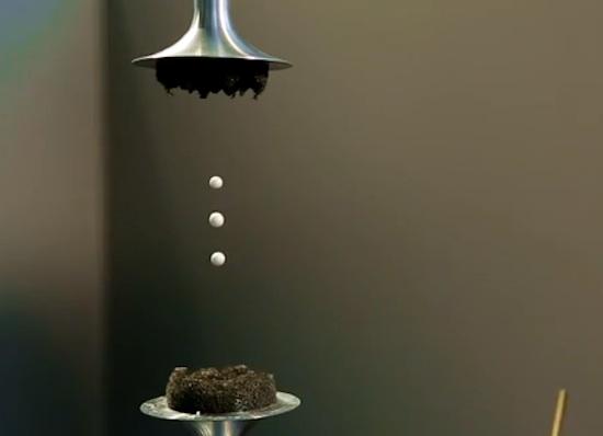3 styrofoam balls levitating