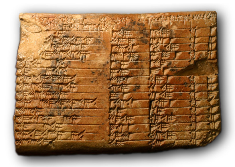 Ancient slab containing numerals from Babylon