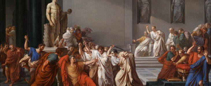 The painting La mort de Cèsar (The Death of Julius Caesar) by Vincenzo Camuccini