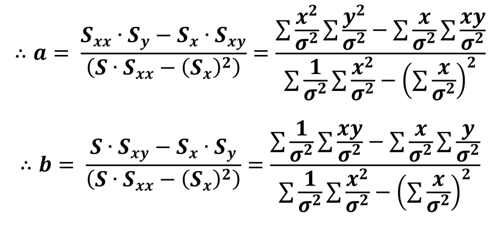 Coefficients from Least Square Fitting method considering errors