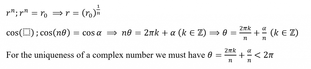 obtaining the nth roots of a complex number