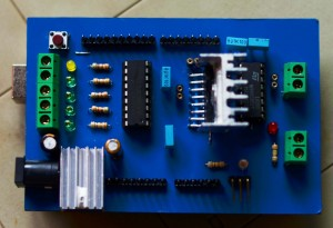 constructed arduino motor shield(click on image for larger view)